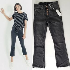 NEW Sanctuary Connector Kick Crop Exposed Fly Jean